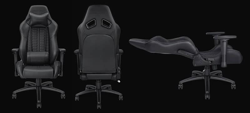Anda Seat gaming chair front, back and reclining view