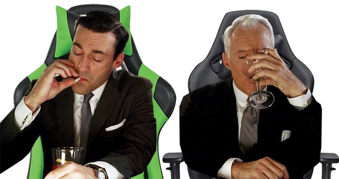 High powered executives sitting on gaming chairs