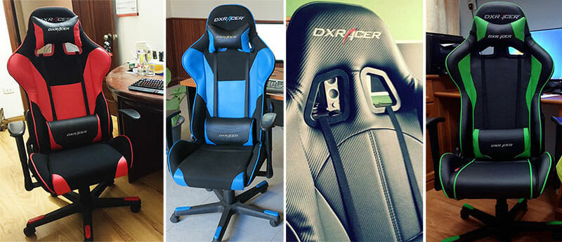 Collection of gaming chairs in different colors