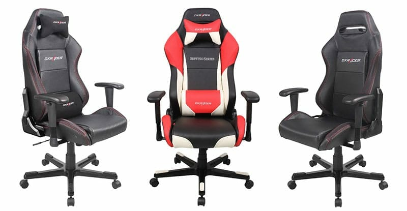 DXracer Drift Series black and red gaming chairs