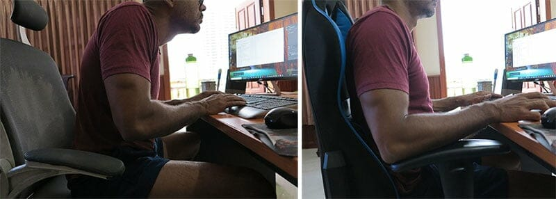 DXracer posture comparison with cheap office chair