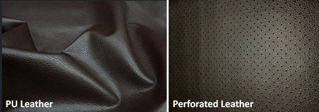 PU leather and perforated upholstery leather