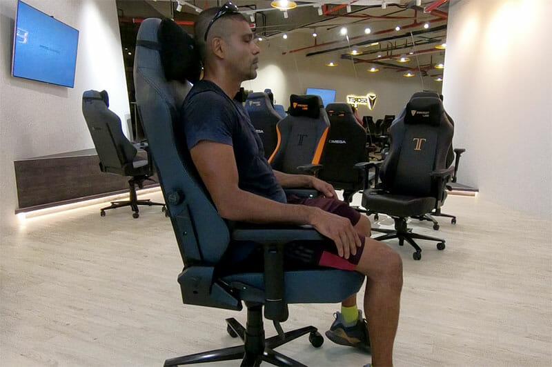 Sitting in a Secretlab Titan office chair