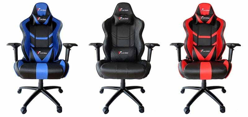 Three TT Racing Royale chairs: blue, red and black