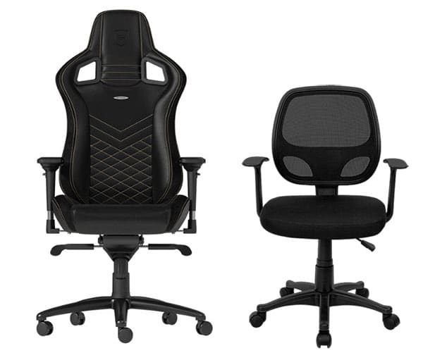 Gaming chair backrest compared to office chair