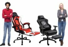 Two gaming chairs with footrests