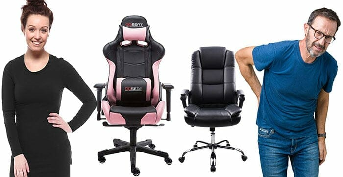 Man and woman using office chairs