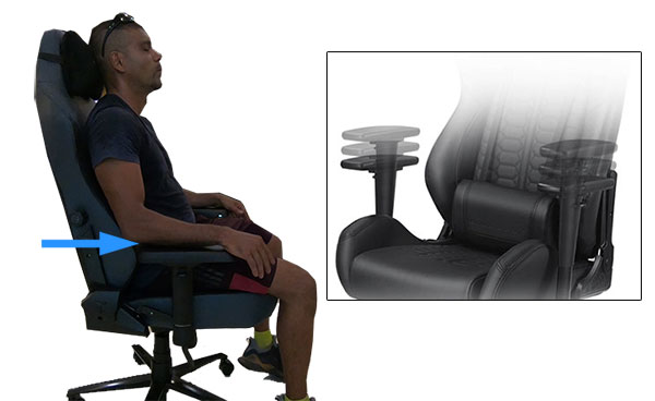 Gaming chair armrest adjustments