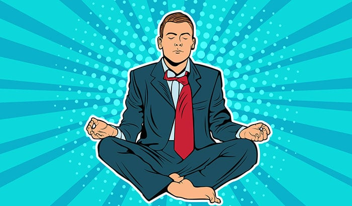 Healthy businessman meditating