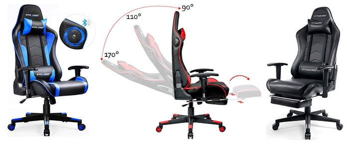GTRACING gaming chairs in three colors