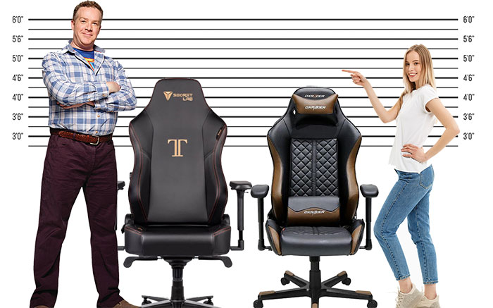 Average sized gaming chairs