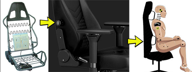 Internal lumbar support for gaming chair