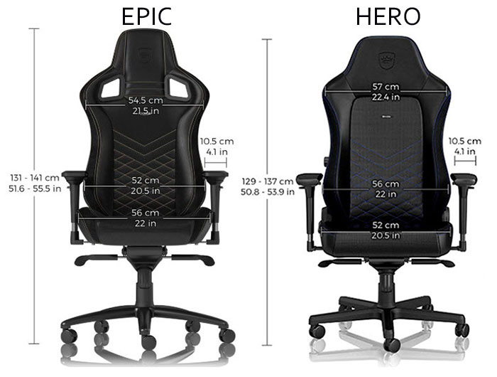 Noblechairs HERO chair sizing