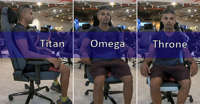 Sitting in three different Secretlab gaming chairs