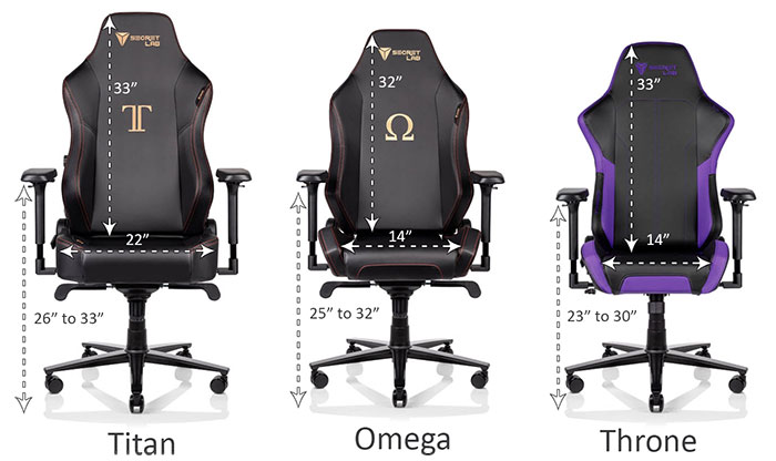 Secretlab gaming chair size differences