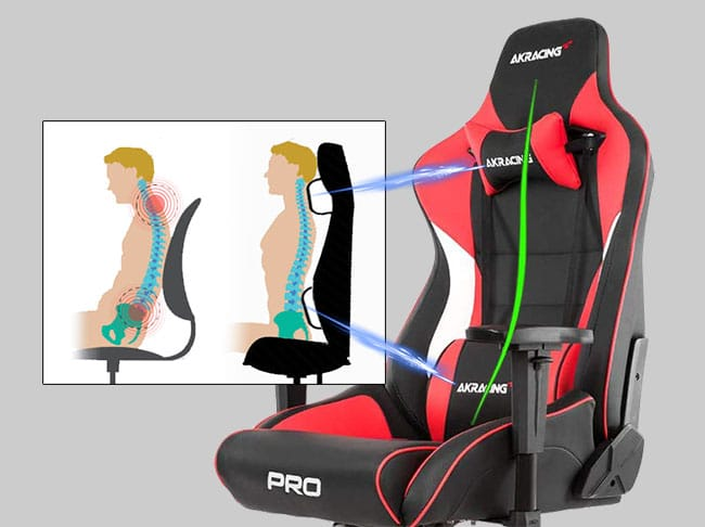 Gaming chair back support