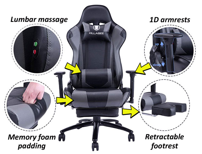 Killabee 8204 gaming chair features