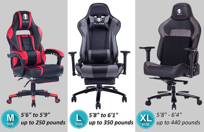 Killabee gaming chair sizes