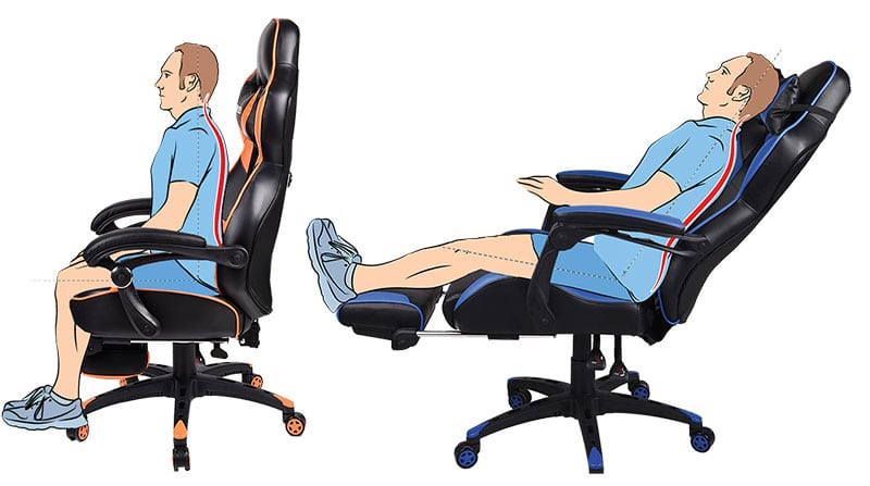 Gaming chairs with footrests
