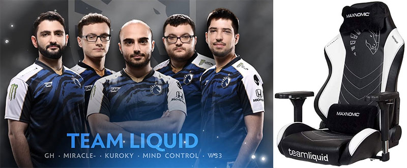 Team Liquid and Maxnomic Pro gaming chair