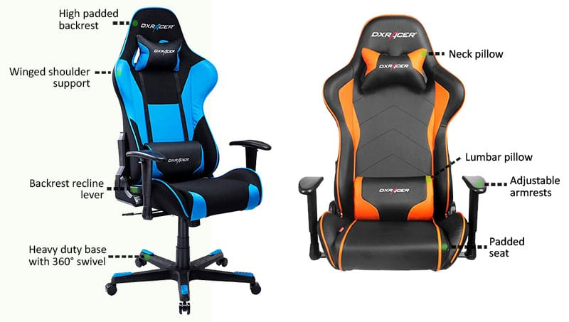 Adjustable parts found on most racing style gaming chairs