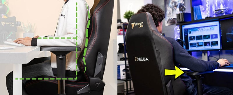 Gaming chairs use adjustable arms