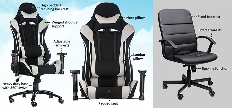 Gaming chair vs office adjustment parts