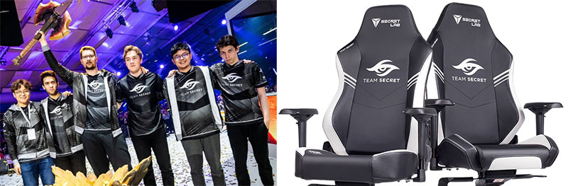 Team Secret Secretlab branded chairs