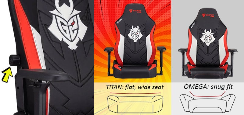 Secretlab Titan and Omega G2 Esports chairs