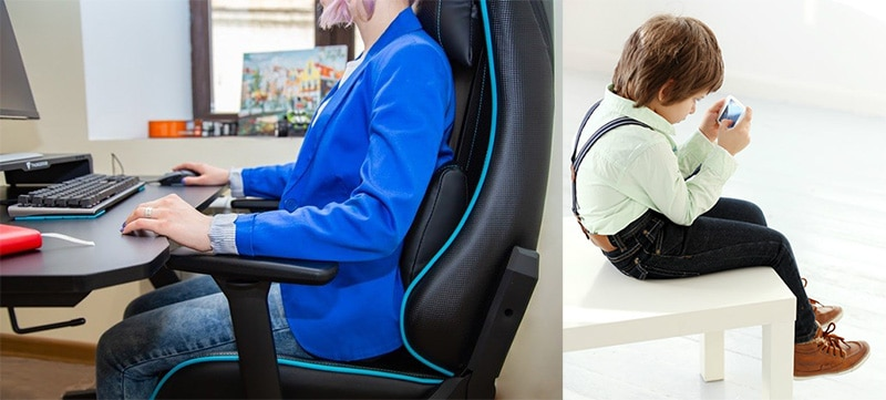 Small gaming chair posture support