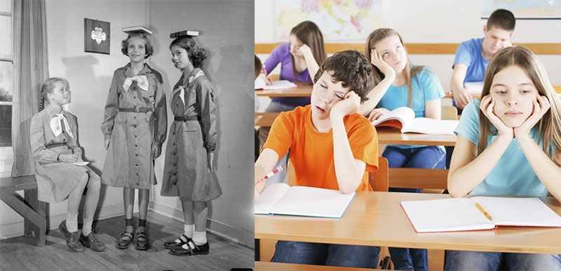 Evolution of posture habits in American education
