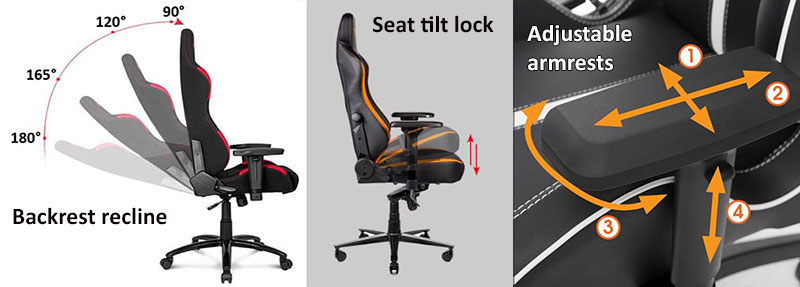 Dynamic sitting features used by gaming chairs