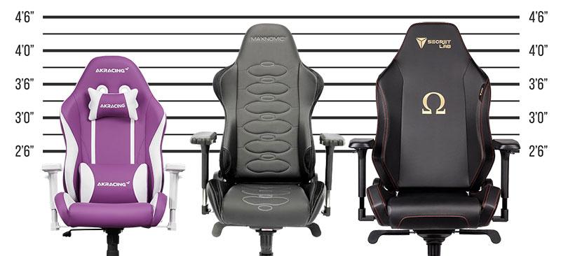 California chair size comparison: Secretlab and Maxnomic