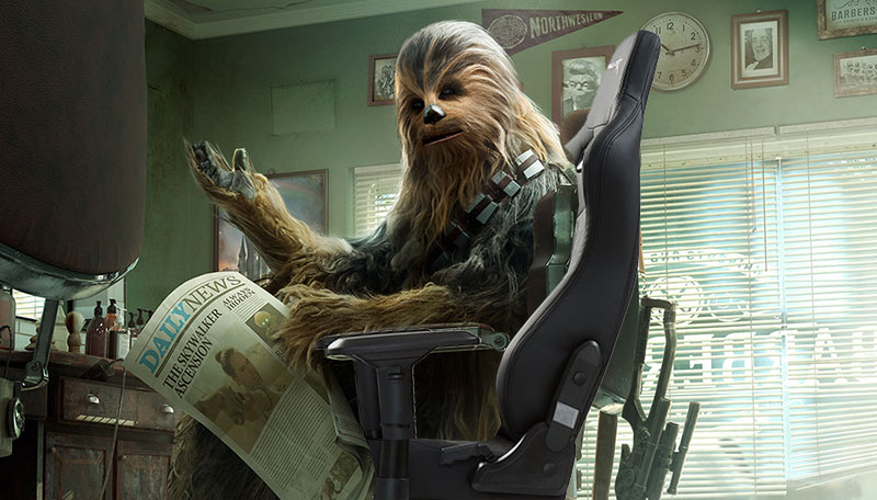 Chewbacca sitting in a gaming chair