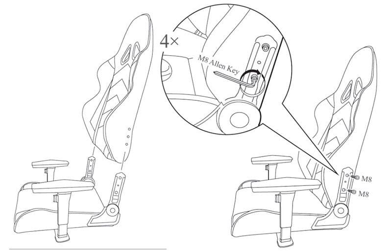 DXRacer assembly of backrest to seat