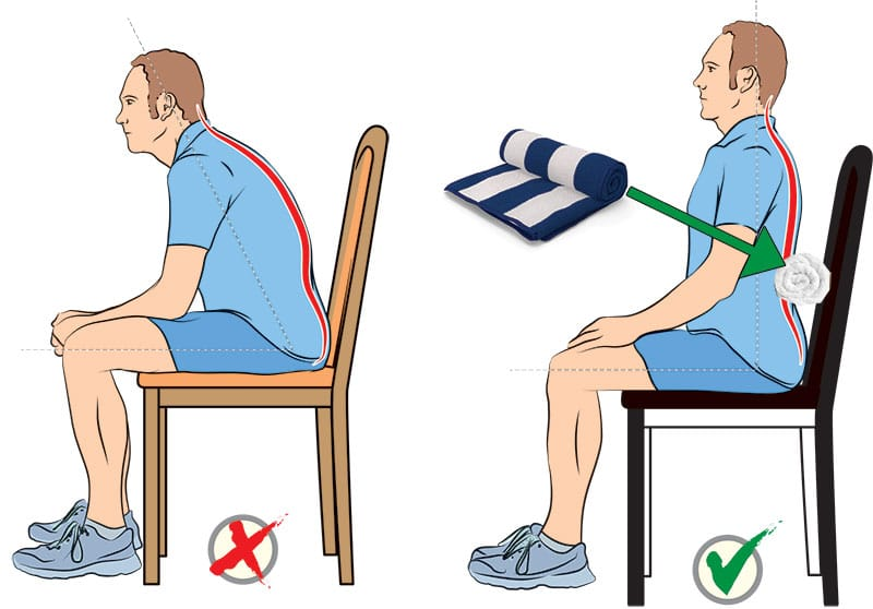 Using a towel for lower back support