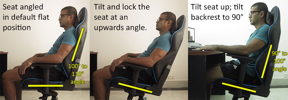 Seat angle tilt lock chair feature
