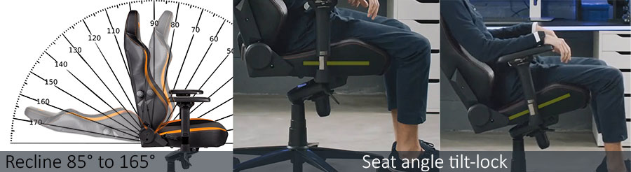 Secretlab Titan gaming chair back support angle adjustments