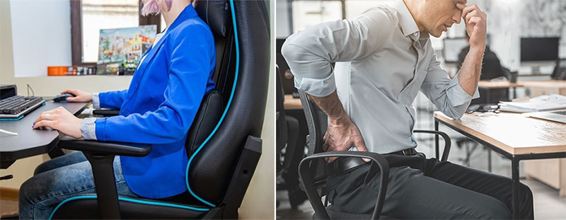 Gaming chair support compared to office chairs