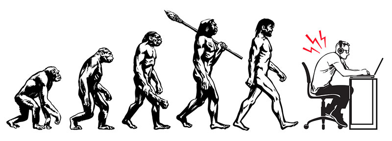 Humans evolution into sedentary desk workers