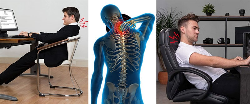 Back pain from fixed office chair armrests