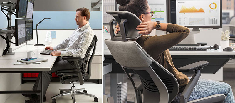 People using ergonomic task chairs in an office