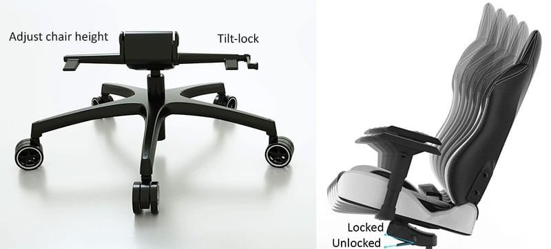 Vertagear seat angle tilt-lock feature
