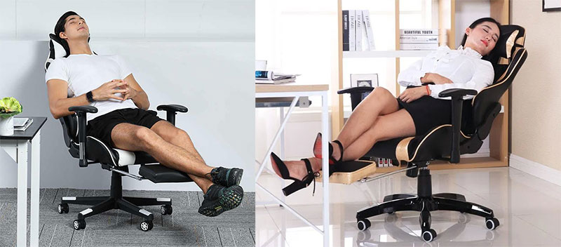 Gaming chair with footrest examples, full recline