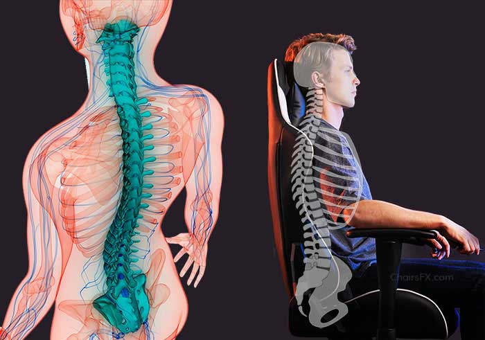Posture rehabilitation in a gaming chair