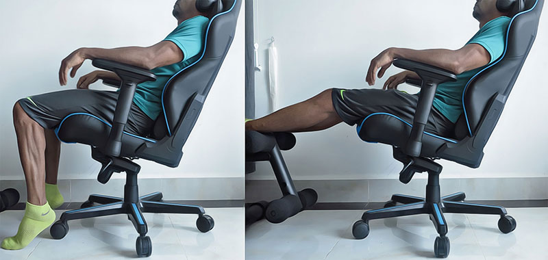 Tilt and lock a gaming chair seat