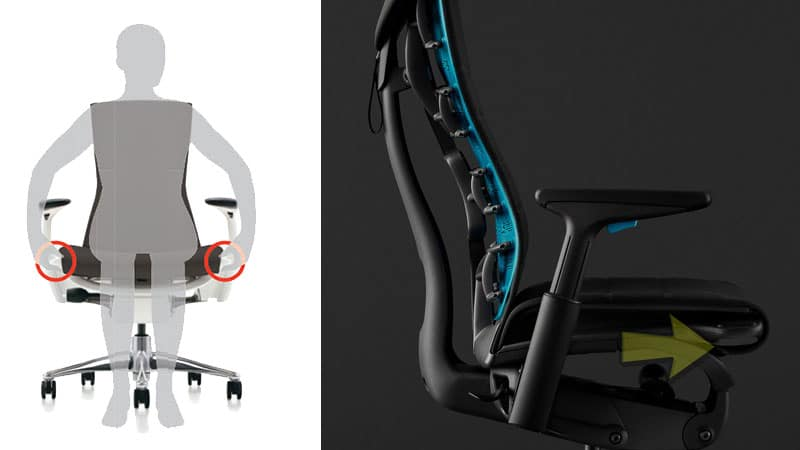 Embody gaming chair seat depth adjustment