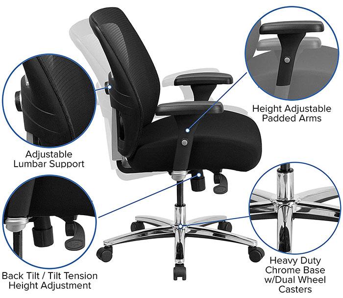 Hercules mesh chair features