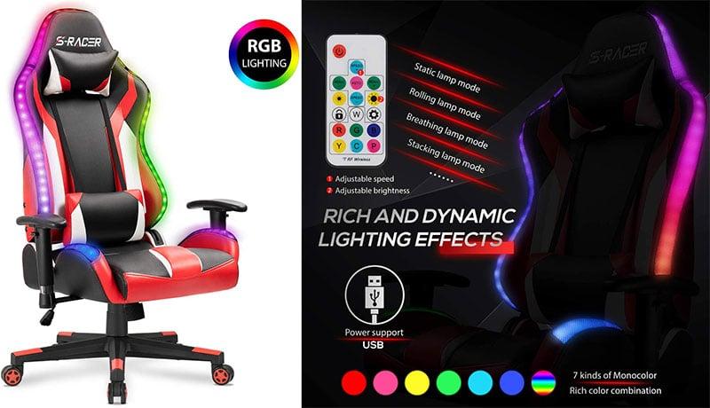 RGB lighting game chair