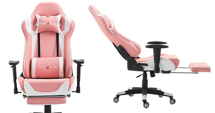 Nokaxus pink gaming chair with footrest